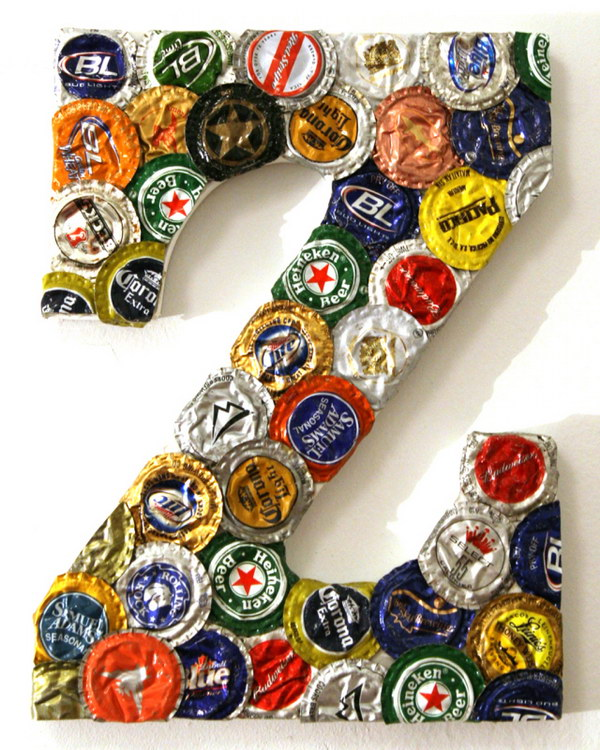 DIY Bottle Cap Letter. This letter craft looks pretty awesome for your home decorating. Check out how to make it