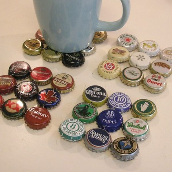 Bottle Cap Coasters. These simple beer bottle top coasters add homemade touch to your table. You can arrange them according to any criteria you want, like color or size.