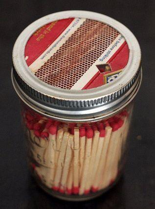 Mason Jar Match Dispenser.