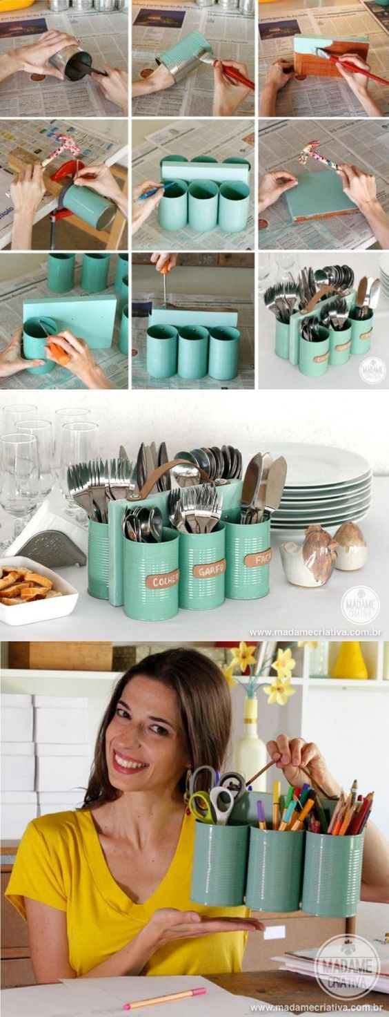 Easy DIY Dinnerware Holder Made From Tin Cans.
