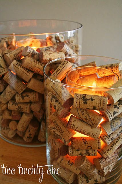 DIY Wine Cork Candle Holders.