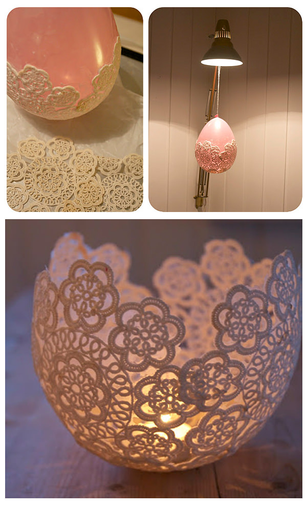 DIY Lace Candle Holder.