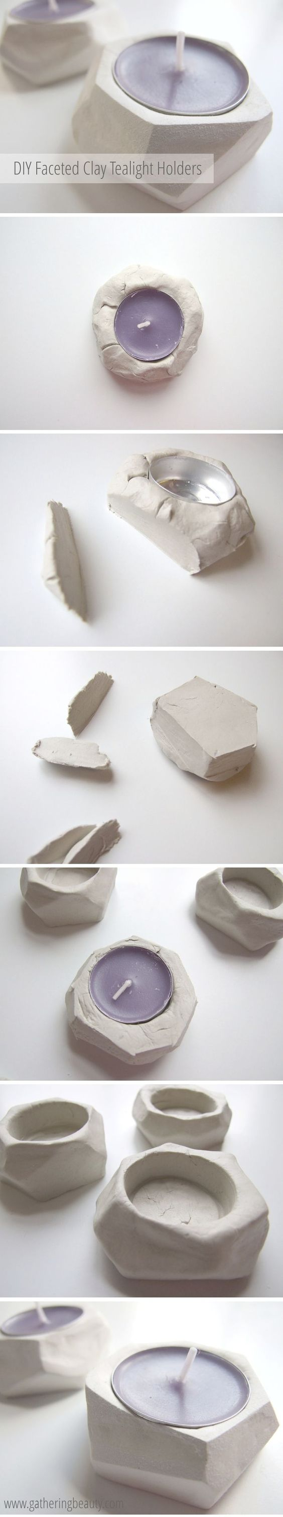 DIY Faceted Clay Tealight Holders.