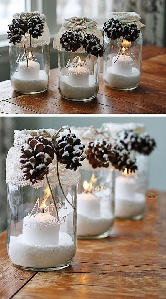 Snowy Pinecone Jars Candle Holders.