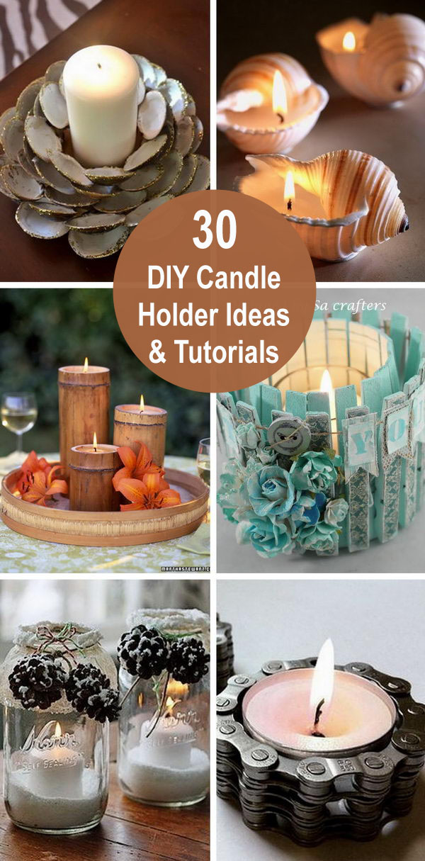 30 DIY Candle Holder Ideas & Tutorials.