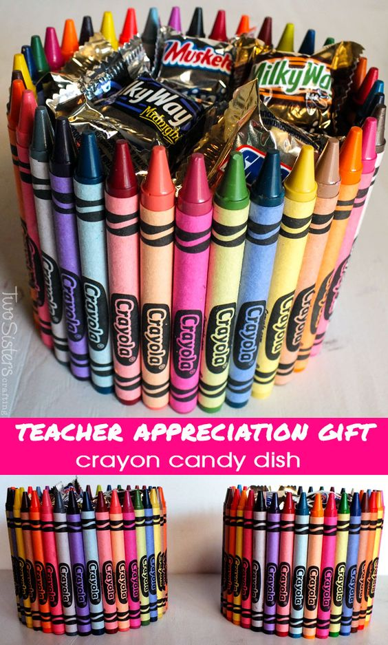 Crayon Candy Dish Teacher Appreciation Gift.