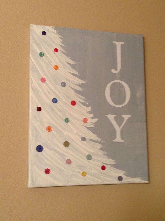 Snowy Christmas Tree With JOY Letters