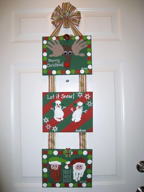 Christmas Handprint Footprint Canvas Craft.