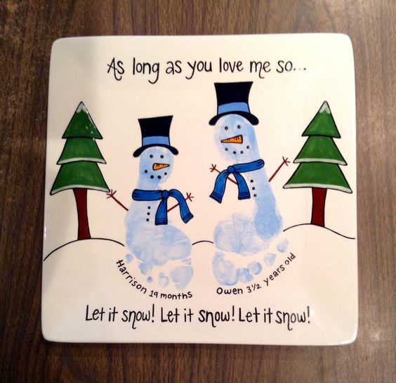 Let It Snow Footprint Snowman Canvas.