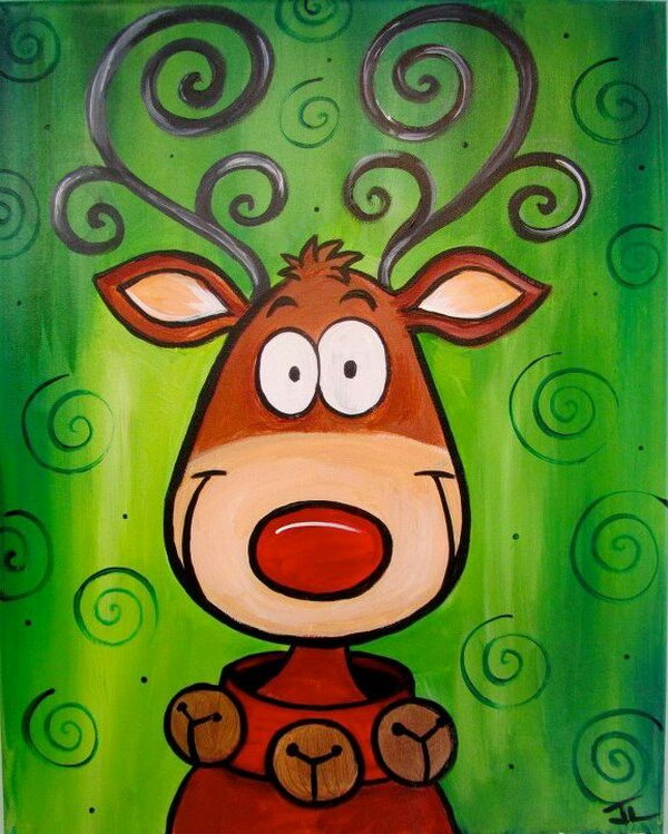 Cute Reindeer Christmas Canvas