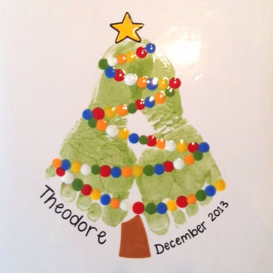 Footprint Christmas Tree Painting