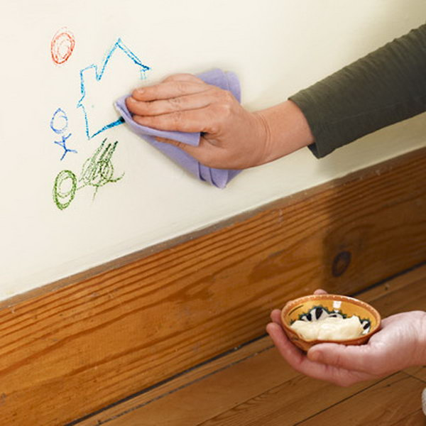 Use Mayonnaise to Erase Crayon from Walls