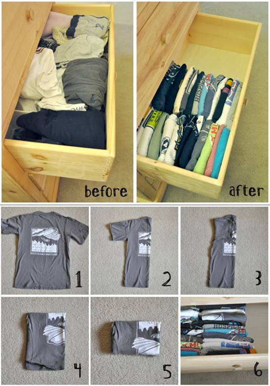 How to fold and organize your t-shirts in the drawer.