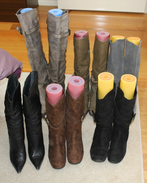 Keep Your Boots in Good Condition and from Falling Over with Pool Noodles.