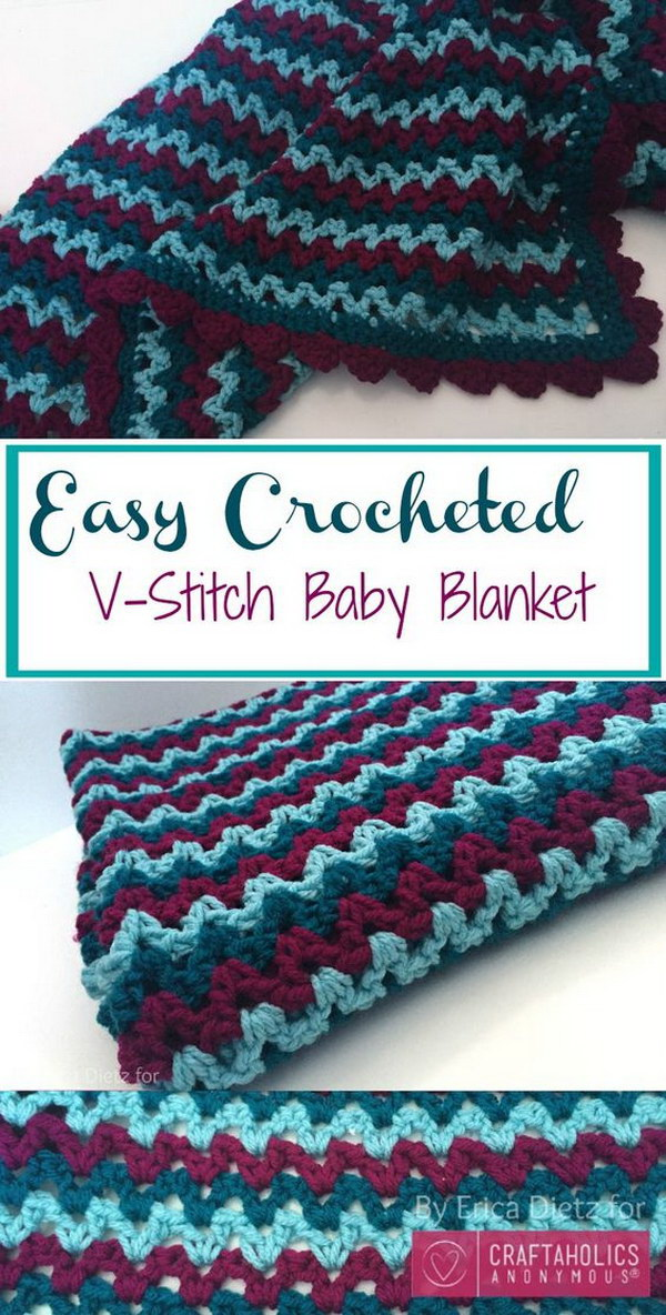 Crochet V-Stitch Baby Blanket.
