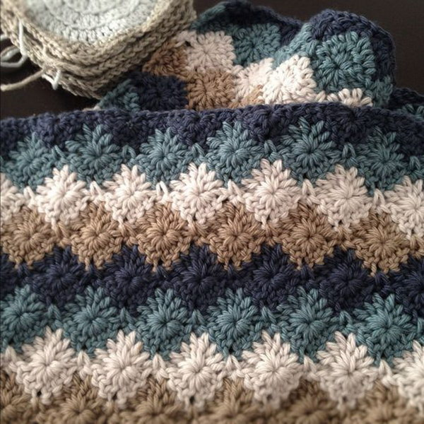 Harlequin Stitch Crochet Baby Blanket.