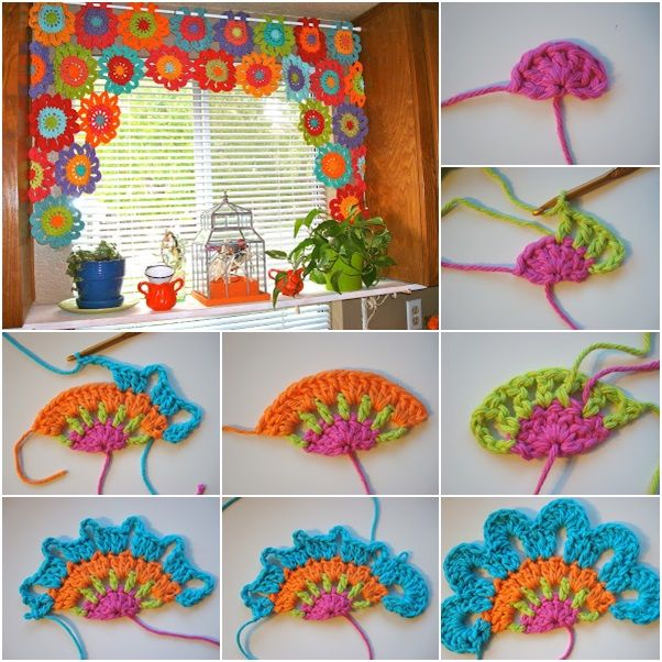 DIY Beautiful Crochet Flower Power Valance. The crochet pattern is easy to follow and works up pretty fast. Tutorial via