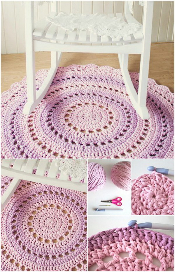 Crochet T-shirt Yarn Rug. Make this beautiful t-shirt yarn rug for the favorite room in your house.
