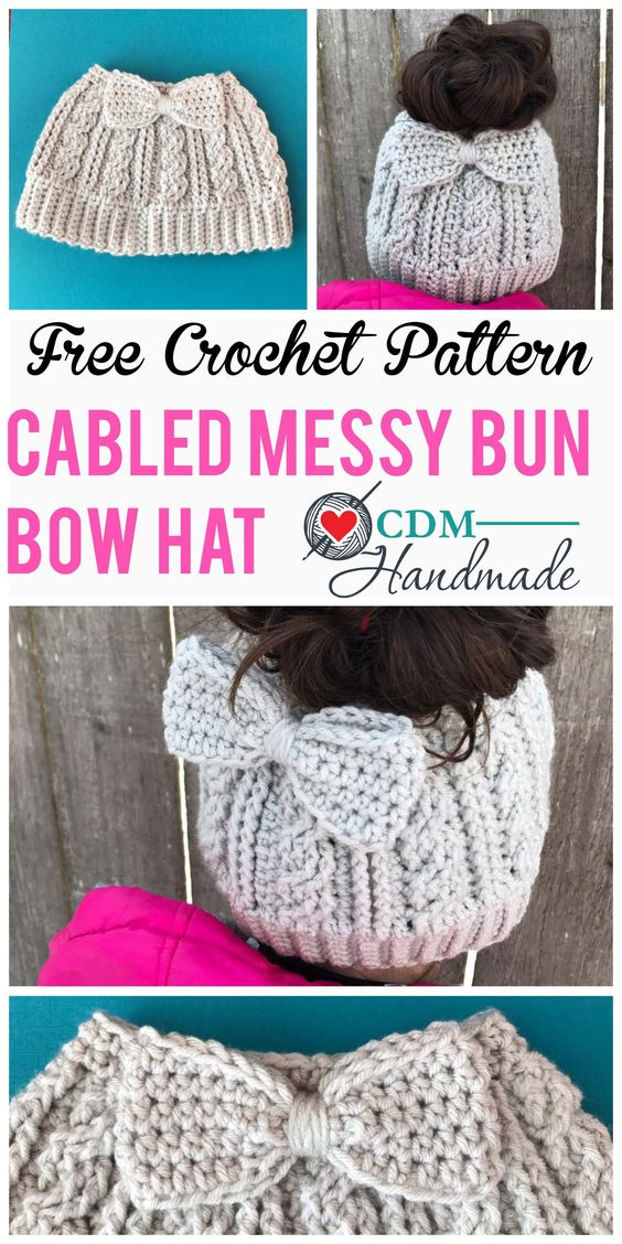 Cabled Messy Bun Hat.