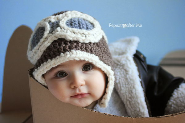 Crochet Aviator Hat. Keep your little ones head warm this year with an adorable newborn aviator hat!