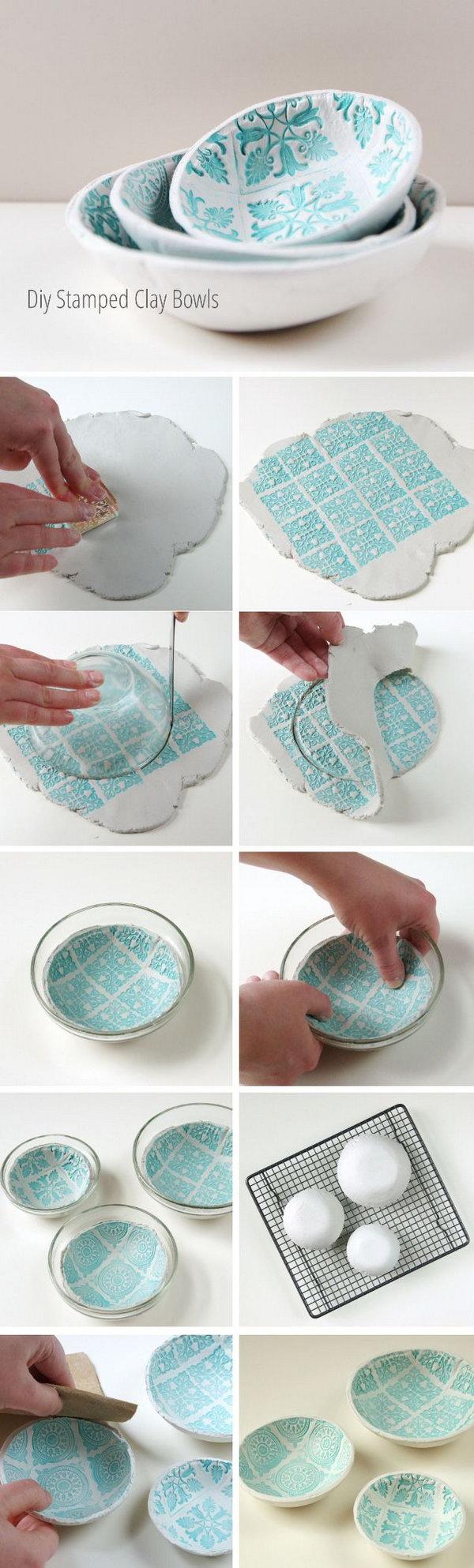 DIY Stamped Clay Bowls.
