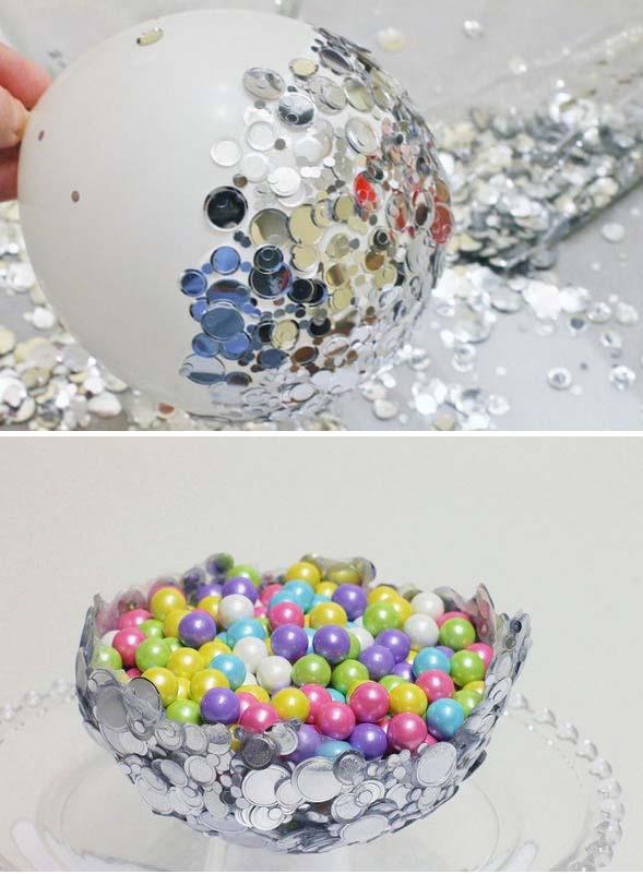 DIY Metallic Confetti Bowl.
