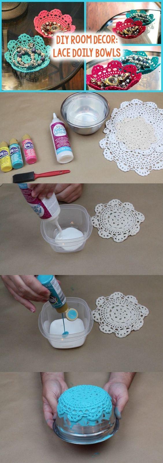 DIY Lace Doily Bowl.