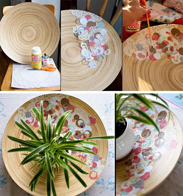 DIY Decoupage Scrap Paper Bowl.