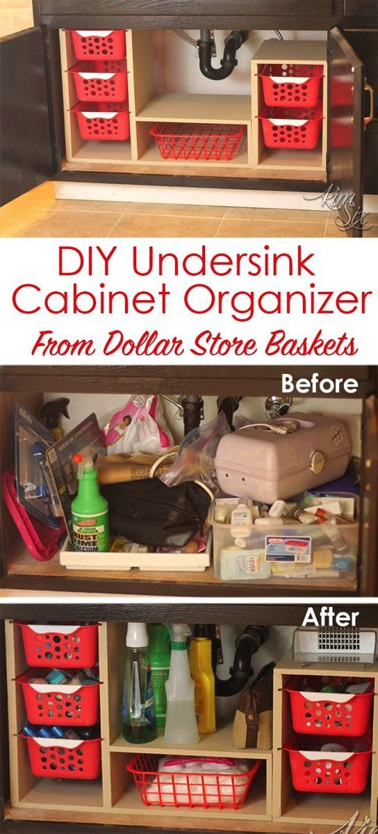 DIY Undersink Cabinet Organizer From Dollar Store Baskets.