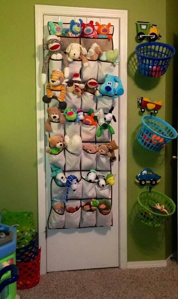 Small Stuffed Animals Storage With Dollar Colored Baskets