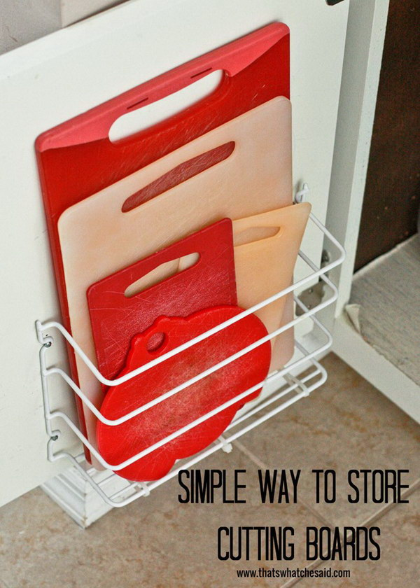 Cutting Board Storage with the Basic Wire Rack.