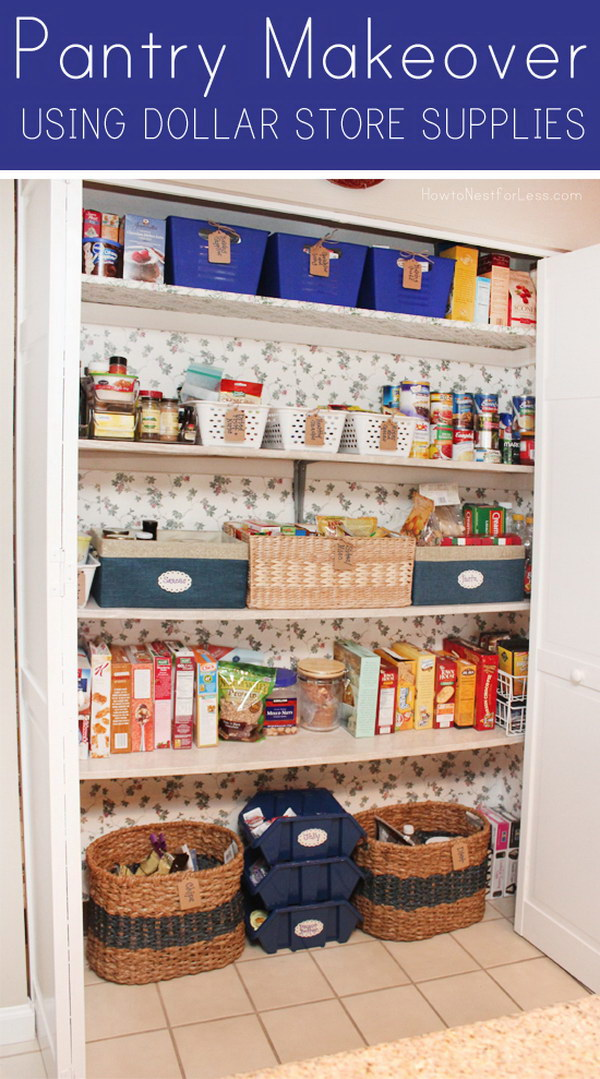 Pantry Makeover Using Dollar Store Supplies.