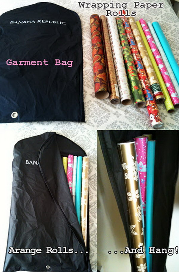 DIY Wrapping Paper Holder Garment Bags.