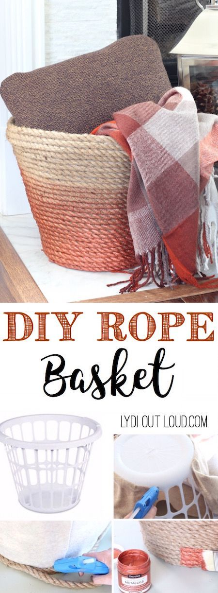 DIY Metallic Rope Throw Basket Made Out Of Dollar Store Laundry Basket.
