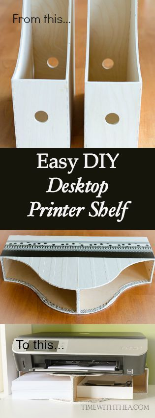 Use Magazine File Holders to Create a Space Saving Storage Shelf for Your Printer.