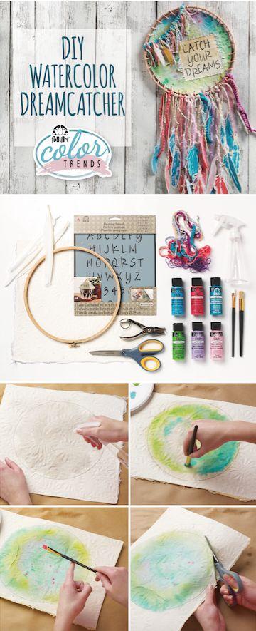 DIY Watercolor Dreamcatcher.