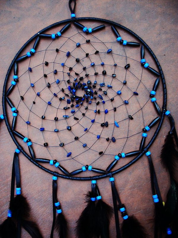 DIY Large Black and Blue Dream Catcher.