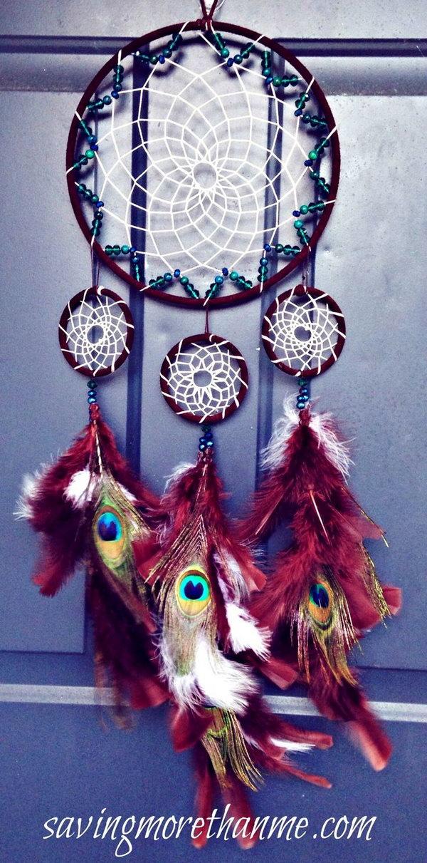 DIY Beautiful Peacock Dream Catcher.
