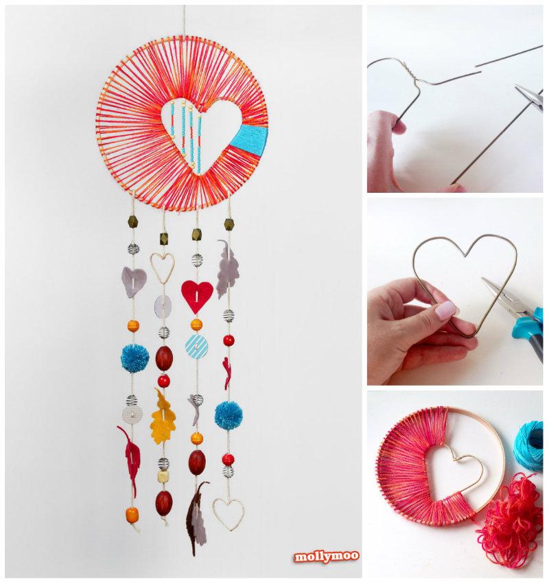 DIY Heart Dreamcatcher.