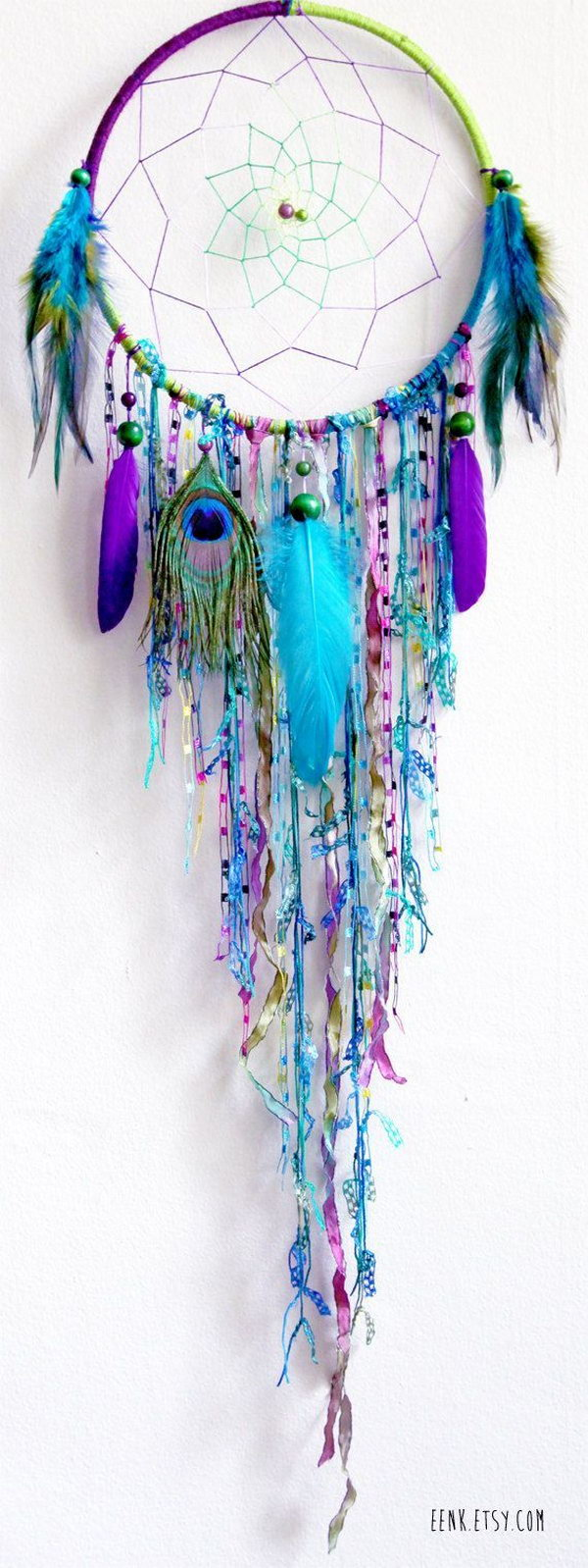 DIY Blue Feather and Bead Dream Catcher.