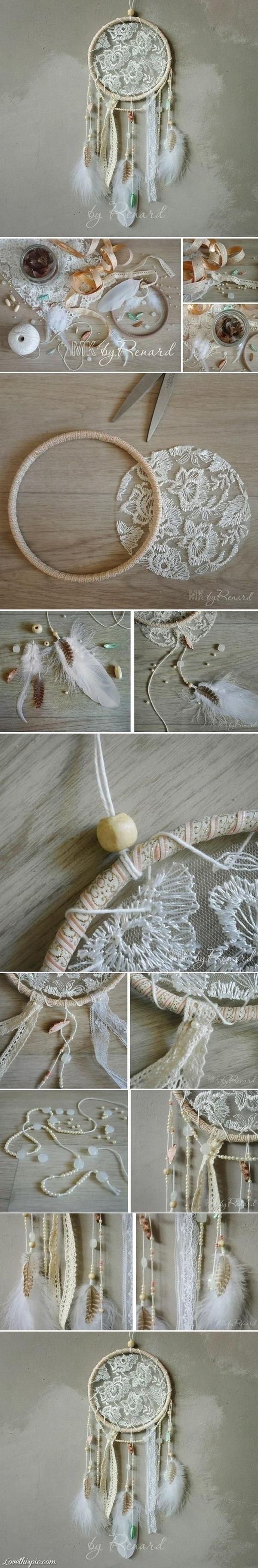 DIY Lace Dream Catcher.