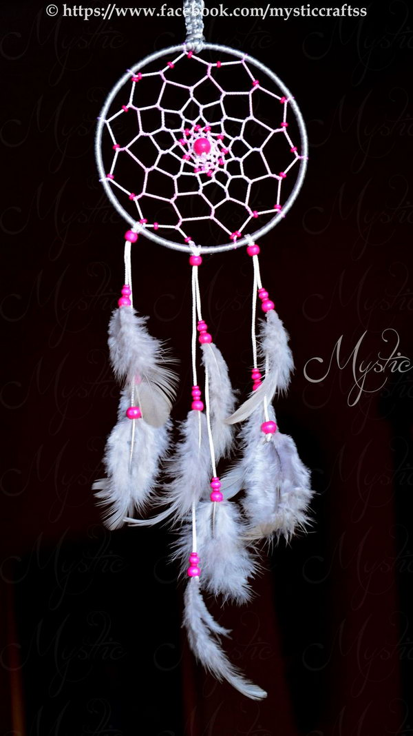 DIY White and Pink Dream Catcher.