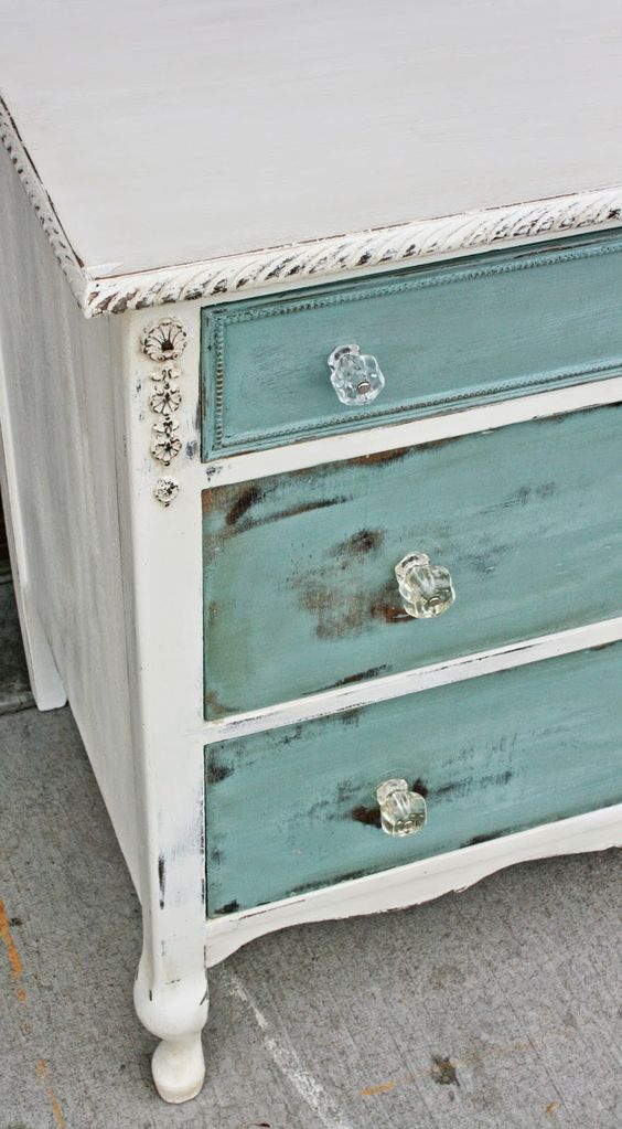 Antiqued White With Sea Blue Drawers