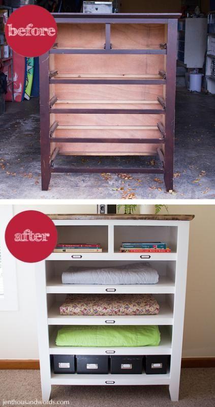 Salvaged And Broken Dresser Becomes Shelves.