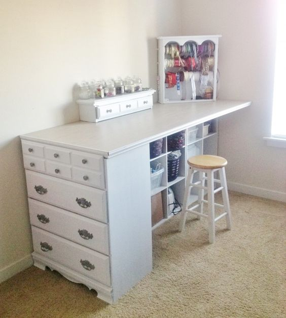 DIY Craft Station from an Old Dresser.
