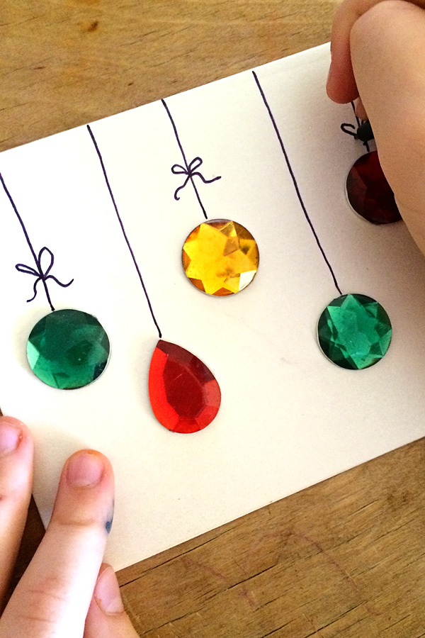 Easy DIY Gemstones Christmas Card.