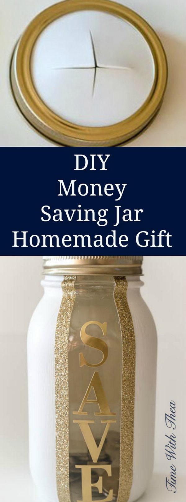 DIY Money Saving Jar Homemade Gift.