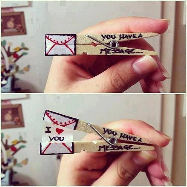 Clothespin Love Message