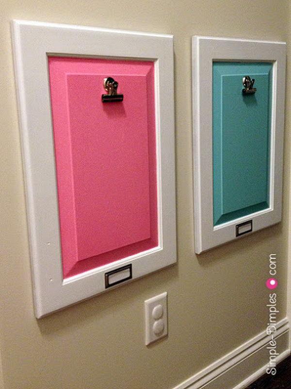 Turn Old Cabinet Door into Decorative Bulletin Board.