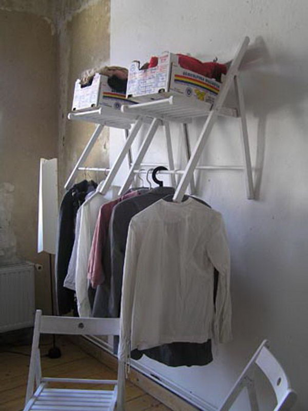 Turn Old Chairs into Clothes Shelf and Rack.